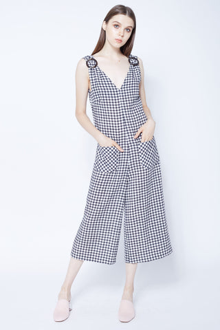 Gingham Culottes Jumpsuits With Tortoise Buckle