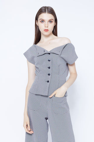 NOTE TO SELF | Button Front Off Shoulder Top in Seersucker Gingham
