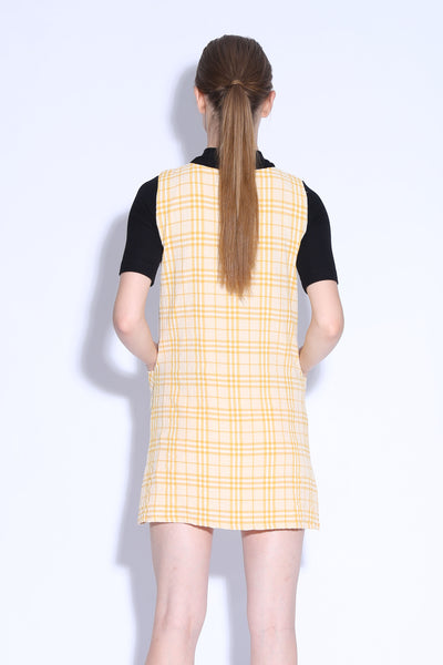 SKINNY DIPPING | Checkered Pinafore Dress With Tortoise Buckle in Yellow