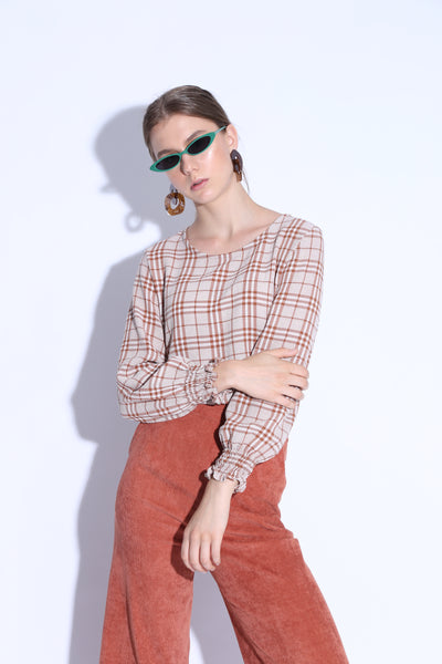 I LOVE YOU MORE THAN NUTELLA | Checkered Top With Shirred Cuff