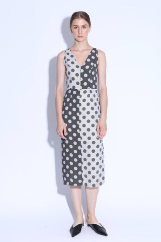 ONE WAY OR ANOTHER | Colour Block Polka Dot Midi Dress With Side Slit