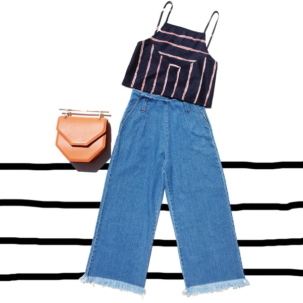 High Waisted 3/4 Wide Leg Culottes Jeans With Frayed Hem 4