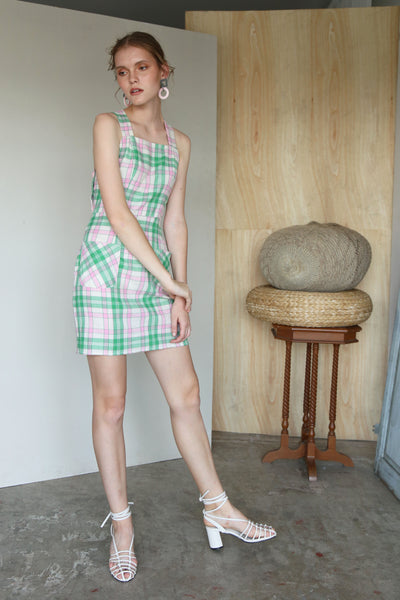 Suit Yourself | Pink Green Plaids Cross Back Mini Pinafore Dress