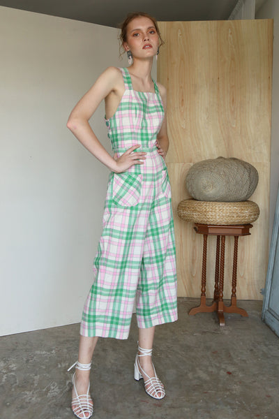 Suit Yourself | Pink Green Plaids Cross Back Pinafore Jumpsuits