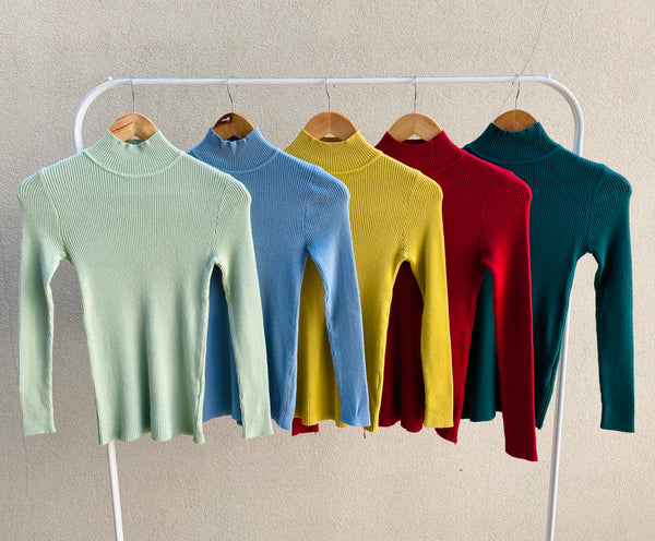 Long Sleeves Mock Neck Rib Knit Skivvy Top