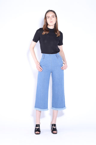 LOLA | High Waisted 3/4 Wide Leg Culottes Jeans With Frayed Hem 4