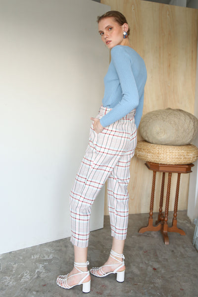 MATCH MADE IN HEAVEN | Plaids High Waisted Tailored Pants With 80s Belt