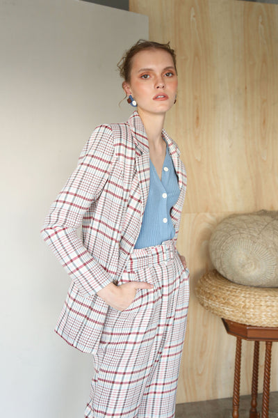 MATCH MADE IN HEAVEN | Plaids Double Breasted Blazer Jacket