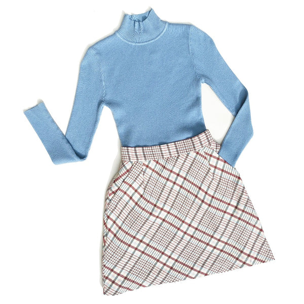 MATCH MADE IN HEAVEN | Plaids High Waisted Bias Cut A Line Mini Skirt