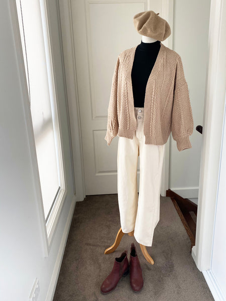 Textured Balloon Sleeves Slouch Cable Knit Cardigan In Sand
