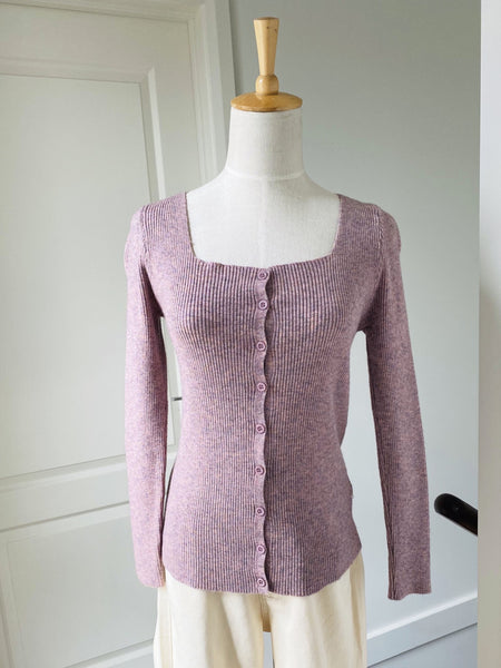 Square Neck Rib Knit Cardigan Top