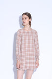 I LOVE YOU MORE THAN NUTELLA | Checkered Tunic Dress With Shirred Cuff