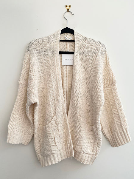 Textured Wide Sleeves Slouch Knit Cardigan In Cream