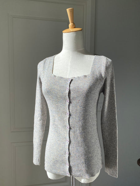 Muted Pink Square Neck Rib Knit Cardigan Top