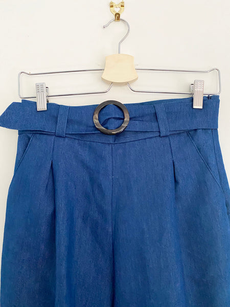 PROVE THEM WRONG | High Waisted Culottes In Dark Blue Denim With Belt