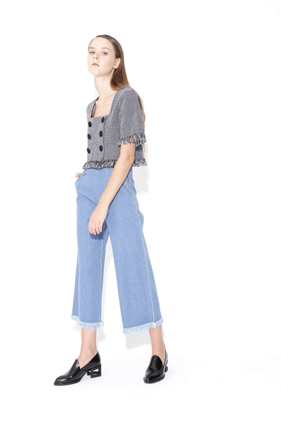 High Waisted 3/4 Wide Leg Culottes Jeans With Frayed Hem 2