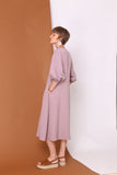 WALKS LIKE RAIN | Swing Midi Dress With Puff Sleeves In Linen Cotton