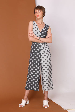 ONE WAY OR ANOTHER | Colour Block Polka Dot Jumpsuits