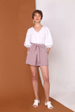 LONG STORY SHORTS | High Waisted Flare Shorts In Pastel Lilac Linen Cotton