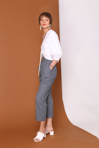 CROSS THE LINE | High Waisted Peg Leg Pants In Nautical Navy Blue Pinstripes