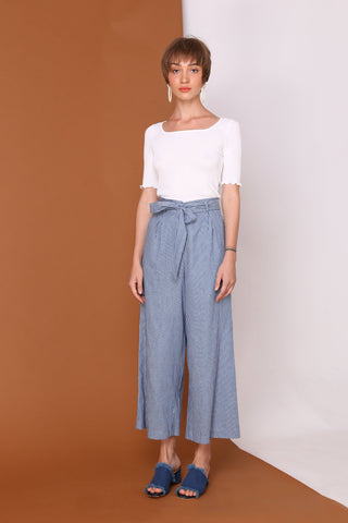 CROSS THE LINE | High Waisted Culottes In Nautical Denim Blue Pinstripes