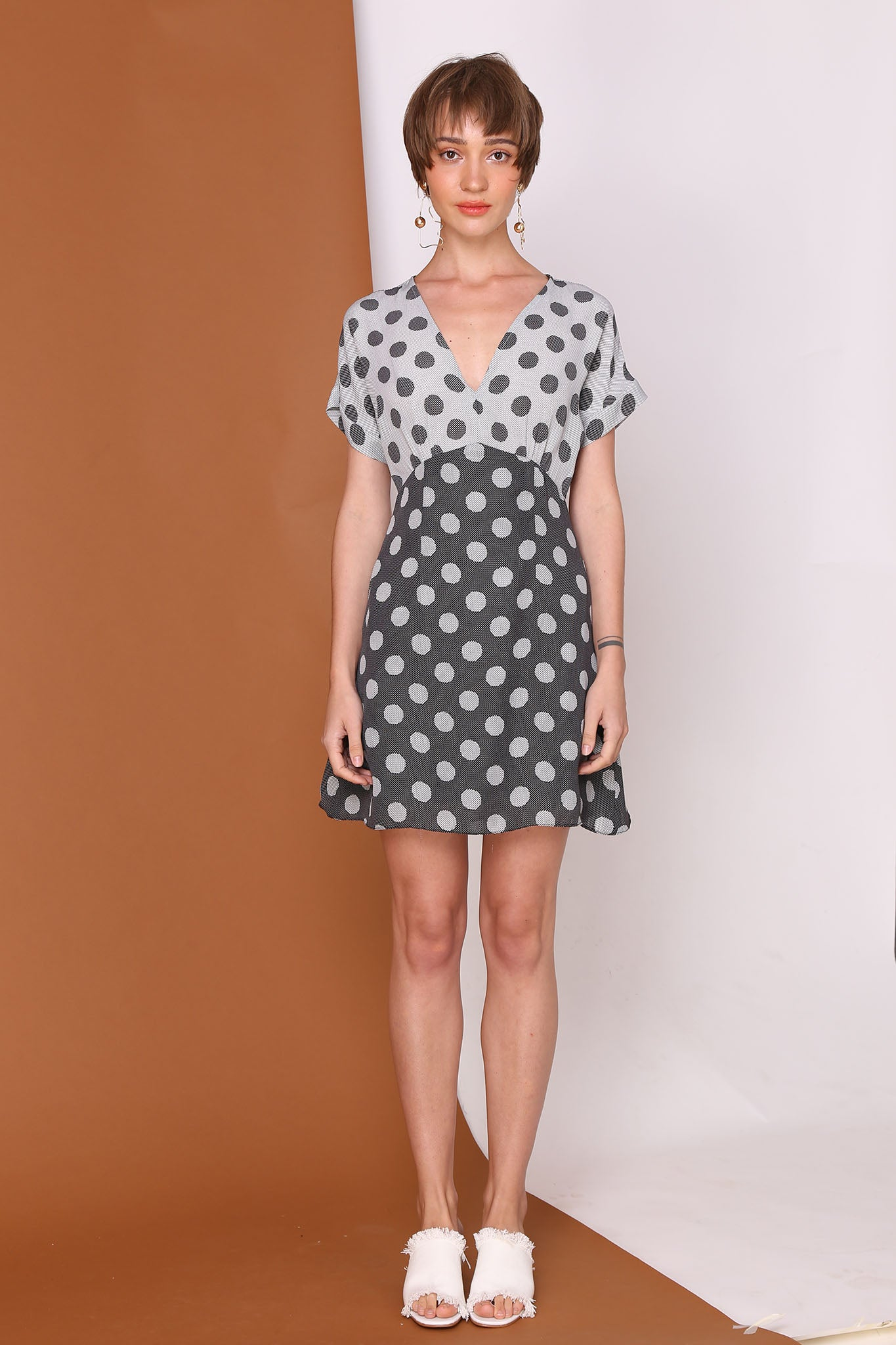 HEAD OR TAIL | 2 Tone Polka Dot Mini Dress