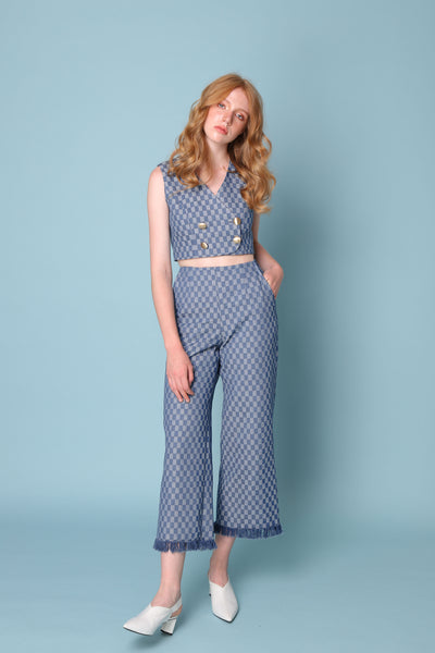 PARTNER IN CRIME | High Waisted Culottes With Frayed Hem in Checkmate Denim