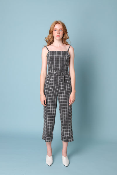 PROVE THEM WRONG | Backless Pinafore Jumpsuits In Black White Check With 80s Buckle Belt