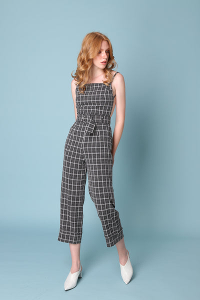 PROVE THEM WRONG | Backless Pinafore Jumpsuits In Navy White Check With 80s Buckle Belt