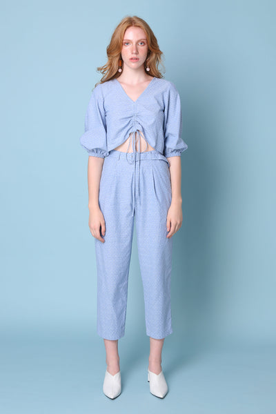 PHILLIPPA | High Waisted Mom Tailor Pants In Blue Spotty Chambray