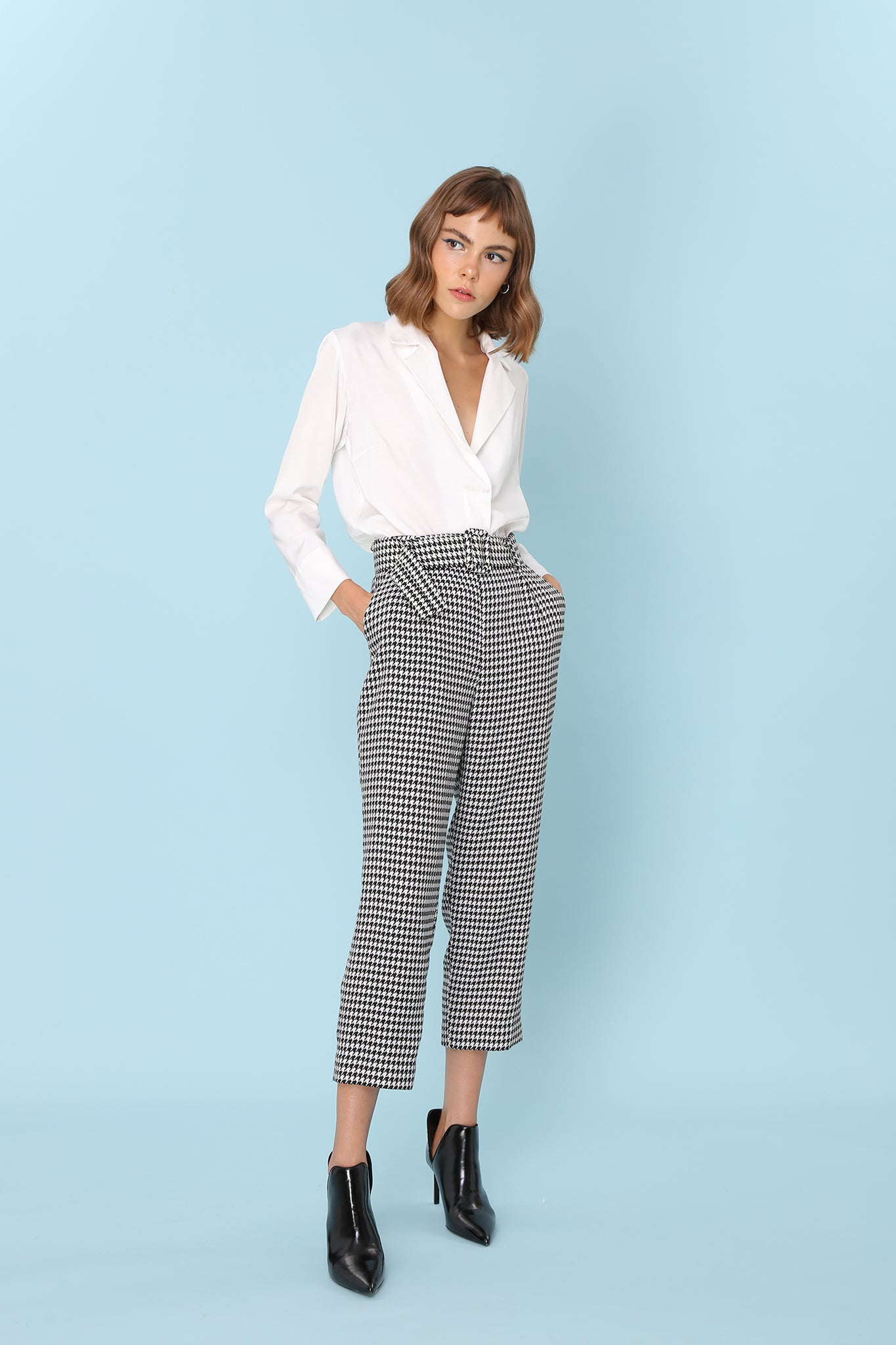 SOMETHING JUST LIKE THIS | Houndstooth 80s Tailored Cigarette Pants With Belt