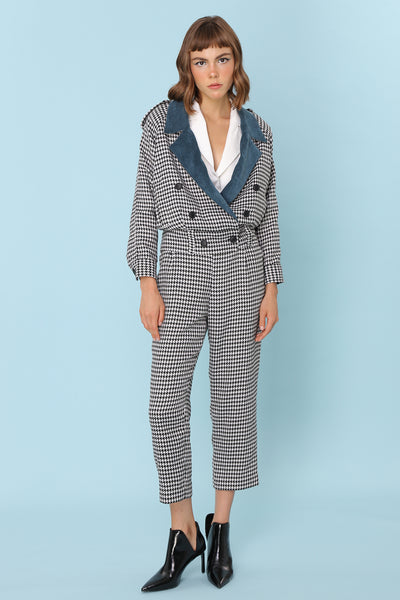 SOMETHING JUST LIKE THIS | Houndstooth Herringbone 80s Tailored Cigarette Pants With Belt