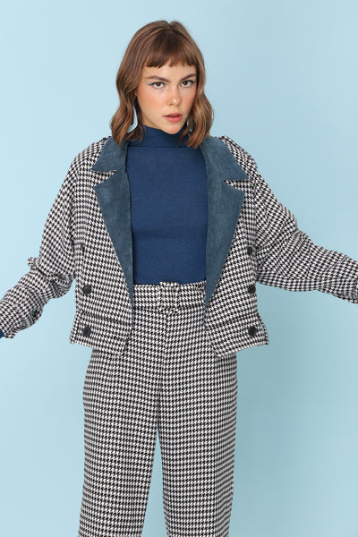 SOMETHING JUST LIKE THIS | 80s Monochrome Houndstooth Check Bomber Jacket With Contrast Corduroy Lapel