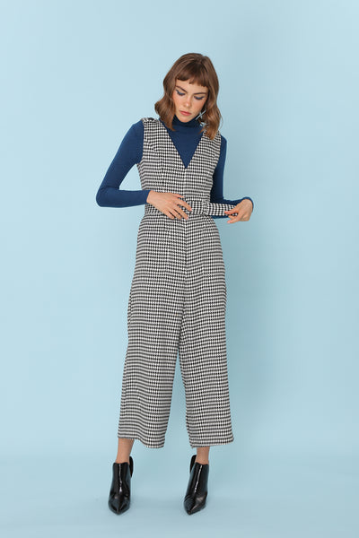 SOMETHING JUST LIKE THIS | Houndstooth Wide Leg Jumpsuits With Belt