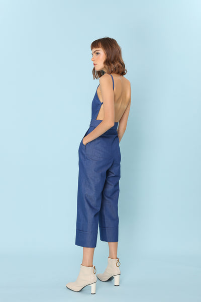 PROVE THEM WRONG | Backless Pinafore Jumpsuits In Dark Blue Denim