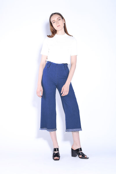 LOLA | High Waisted 3/4 Wide Leg Culottes Jeans With Frayed Hem 6