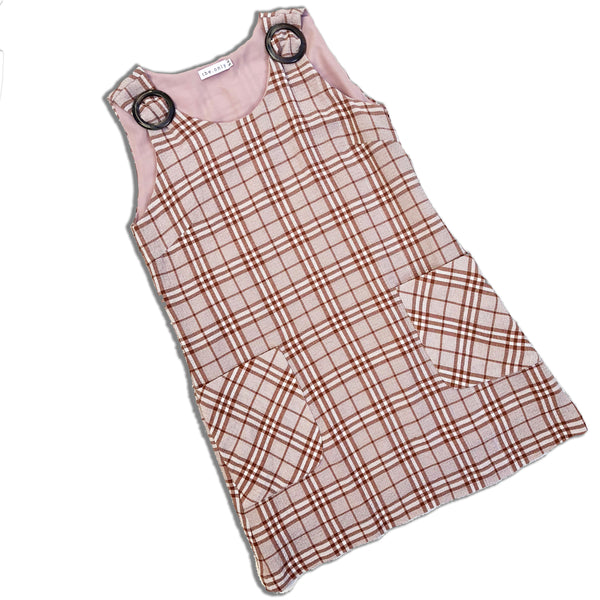 SKINNY DIPPING | Checkered Pinafore Dress With Tortoise Buckle in Maroon