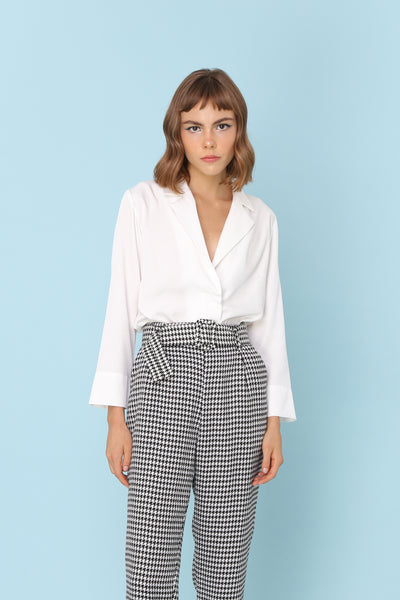 LESS IS MORE | Silky White Button Up Collar Shirt Blouse