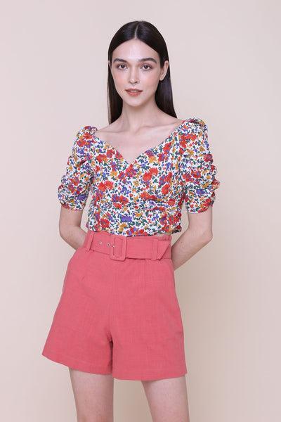 AIN'T ALL ROSES | Cropped Wrap Blouse With Ruched Sleeves