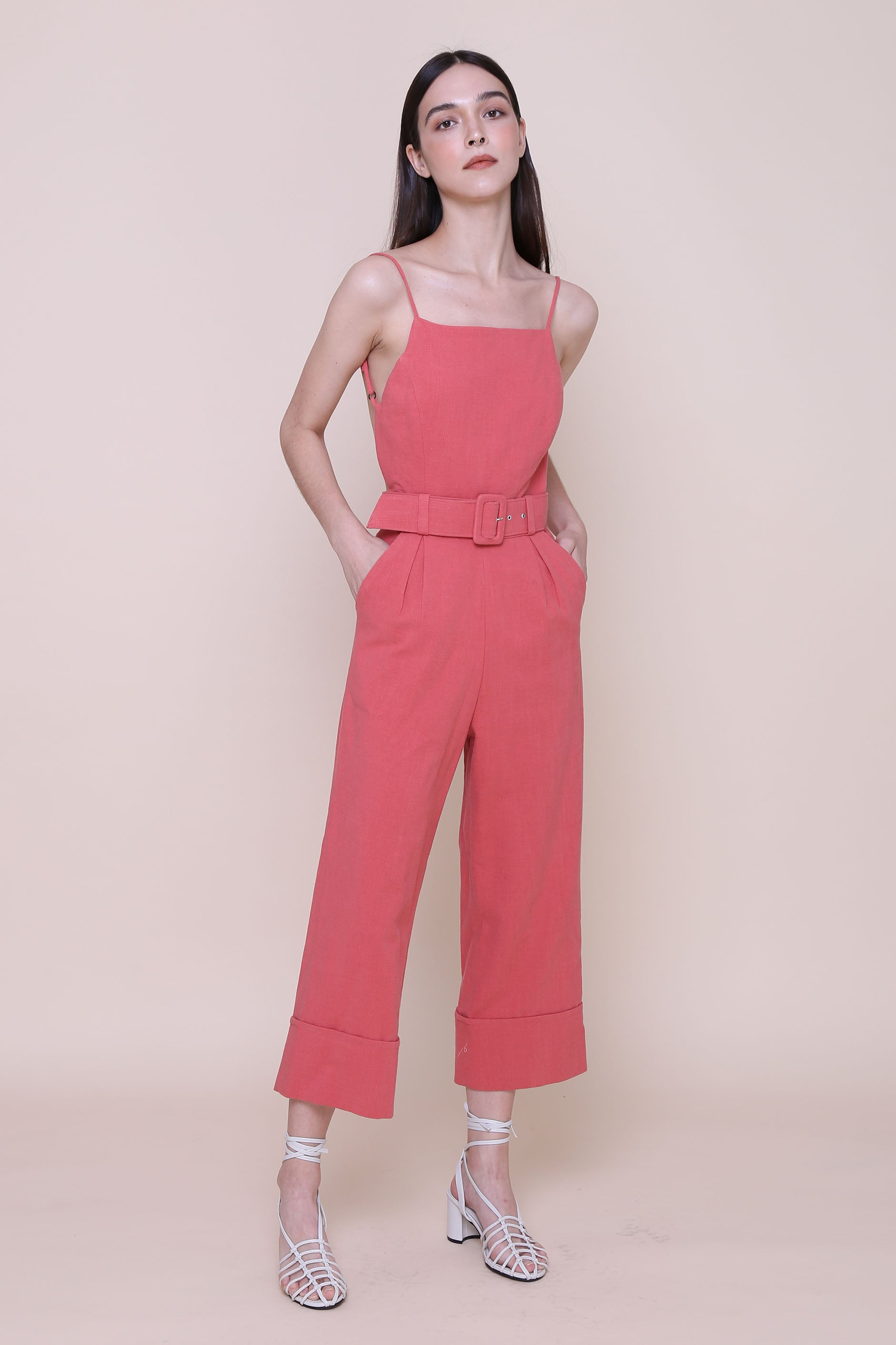 SOME LIKE IT HOT | Backless Pinafore Jumpsuits In Vintage Red With Buckle Belt