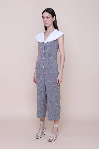 VIRGIN MARY | Tweed Jumpsuits With Frayed Cape Collar And Vintage Buttons