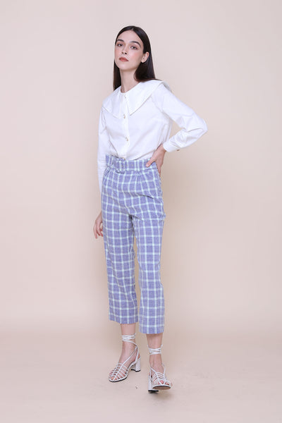 THE WONDER OF YOU | High Waisted Cigarette Pants In Blue Mint Plaids
