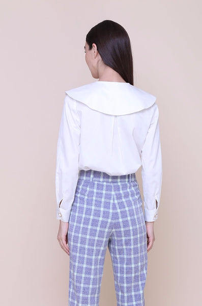 KEPT ME SANE | White Cotton Shirt With Peter Pan Collar