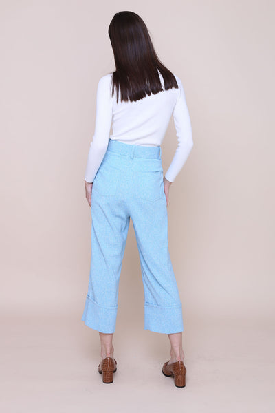THINK OUTSIDE THE BOX | High Waisted Culottes In Blue Tweed With Belt
