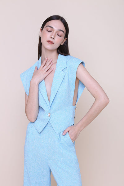 THINK OUTSIDE THE BOX | Blue Tweed Tuxedo Vest