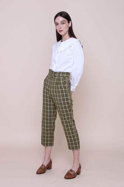 THE WONDER OF YOU | High Waisted Cigarette Pants In Olive Plaids