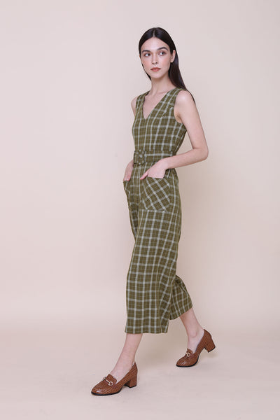 MADE MY DAY | V Neck Jumpsuits In Olive Plaids