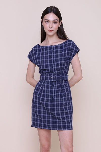 ON A HIGH NOTE | Boat Neck Off The Shoulder Dress In Navy Plaids