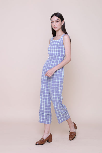 THE WONDER OF YOU | Square Neck Jumpsuits In Blue & Mint Green Plaids