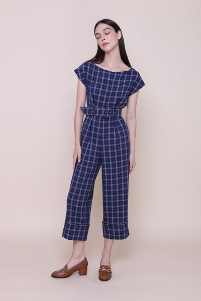 ON A HIGH NOTE | Boat Neck Off The Shoulder Jumpsuits In Navy Plaids